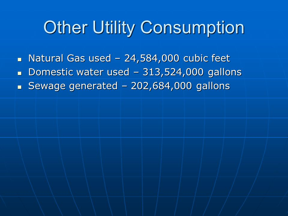 Other Utility Consumption Natural Gas used – 24,584,000 cubic feet Natural Gas used – 24,584,000 cubic feet Domestic water used – 313,524,000 gallons Domestic water used – 313,524,000 gallons Sewage generated – 202,684,000 gallons Sewage generated – 202,684,000 gallons