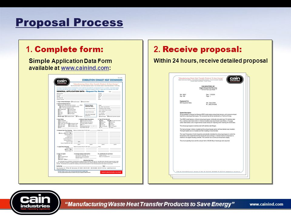 www.cainind.com Proposal Process 1. Complete form: Simple Application Data Form available at www.cainind.com: Manufacturing Waste Heat Transfer Produc
