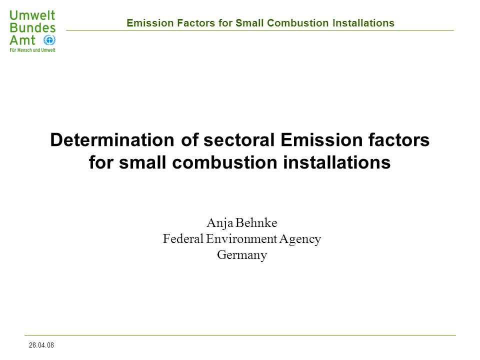 Emission Factors for Small Combustion Installations 28.04.08