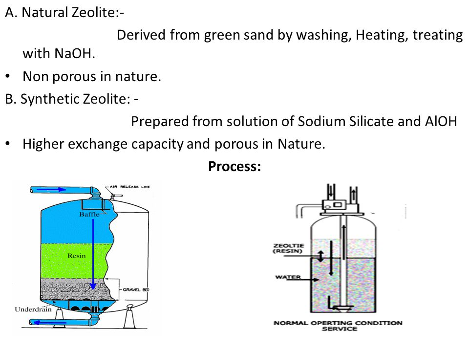 A. Natural Zeolite:- Derived from green sand by washing, Heating, treating with NaOH. Non porous in nature. B. Synthetic Zeolite: - Prepared from solu