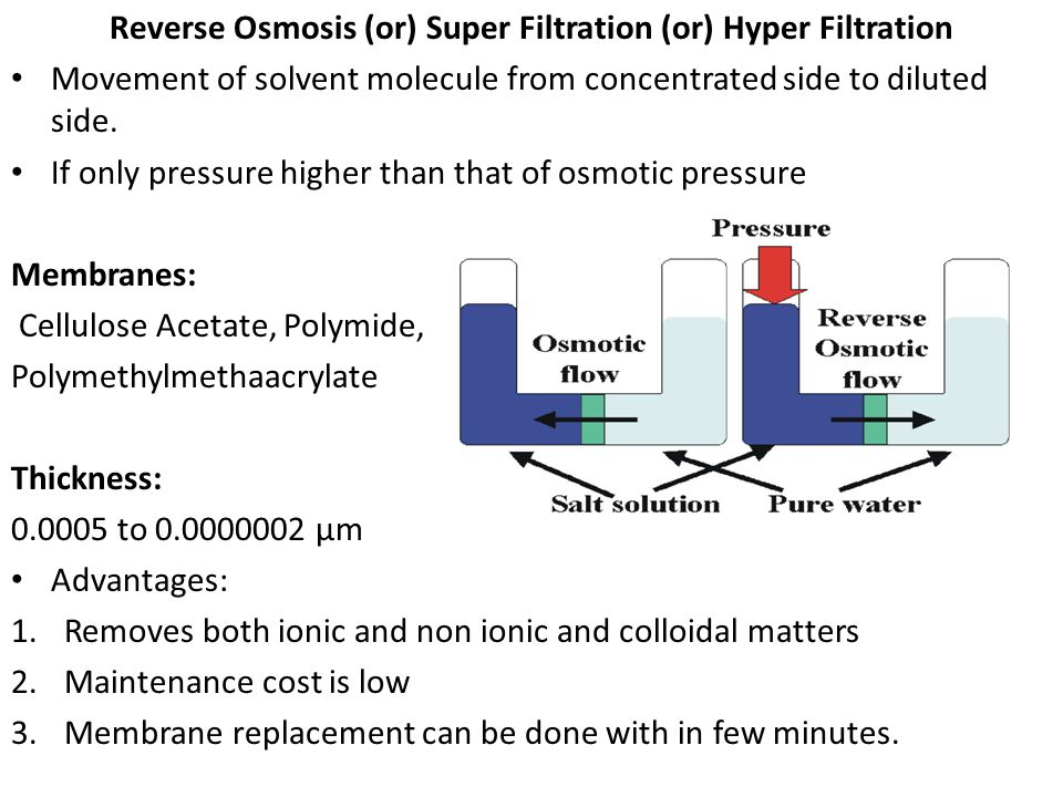 Reverse Osmosis (or) Super Filtration (or) Hyper Filtration Movement of solvent molecule from concentrated side to diluted side. If only pressure high