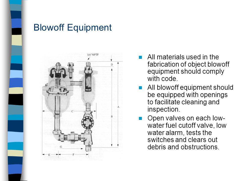 Blowoff Equipment All materials used in the fabrication of object blowoff equipment should comply with code. All blowoff equipment should be equipped