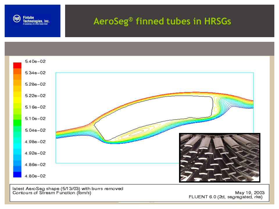AeroSeg finned tubes are the new generation of finned tubes AeroSeg ® finned tubes can significantly decrease the number of finned tubes in an HRSG, t