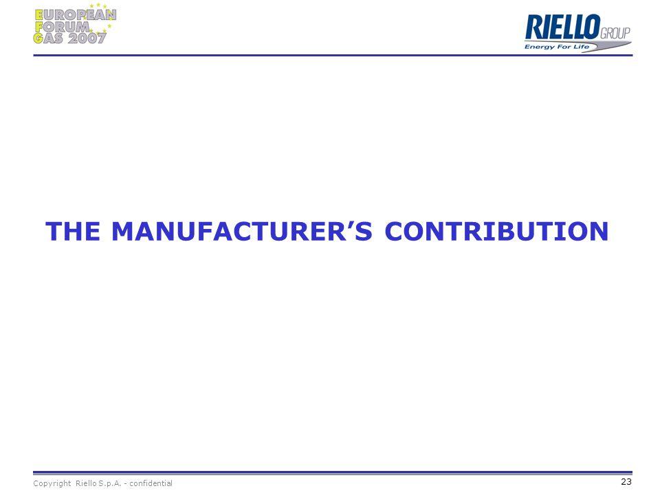 Copyright Riello S.p.A. - confidential 23 THE MANUFACTURERS CONTRIBUTION
