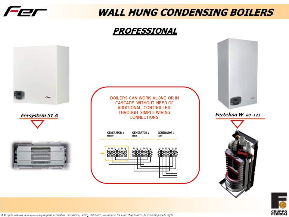 © All rights reserved, also regarding any disposal, exploitation, reproduction, editing, distribution, as well as in the event of applications for industrial property rights Fersystem 51 A PROFESSIONAL Fertekna W 80 -125 WALL HUNG CONDENSING BOILERS BOILERS CAN WORK ALONE OR IN CASCADE WITHOUT NEED OF ADDITIONAL CONTROLLER, THROUGH SIMPLE WIRING CONNECTIONS.