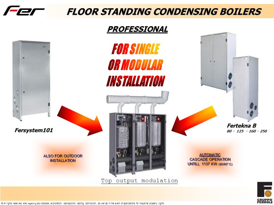 © All rights reserved, also regarding any disposal, exploitation, reproduction, editing, distribution, as well as in the event of applications for industrial property rights FLOOR STANDING CONDENSING BOILERS Fersystem101 Fertekna B 80 - 125 - 160 - 250 PROFESSIONAL AUTOMATIC CASCADE OPERATION UNTILL 1137 KW (80/60° C) ALSO FOR OUTDOOR INSTALLATION Top output modulation