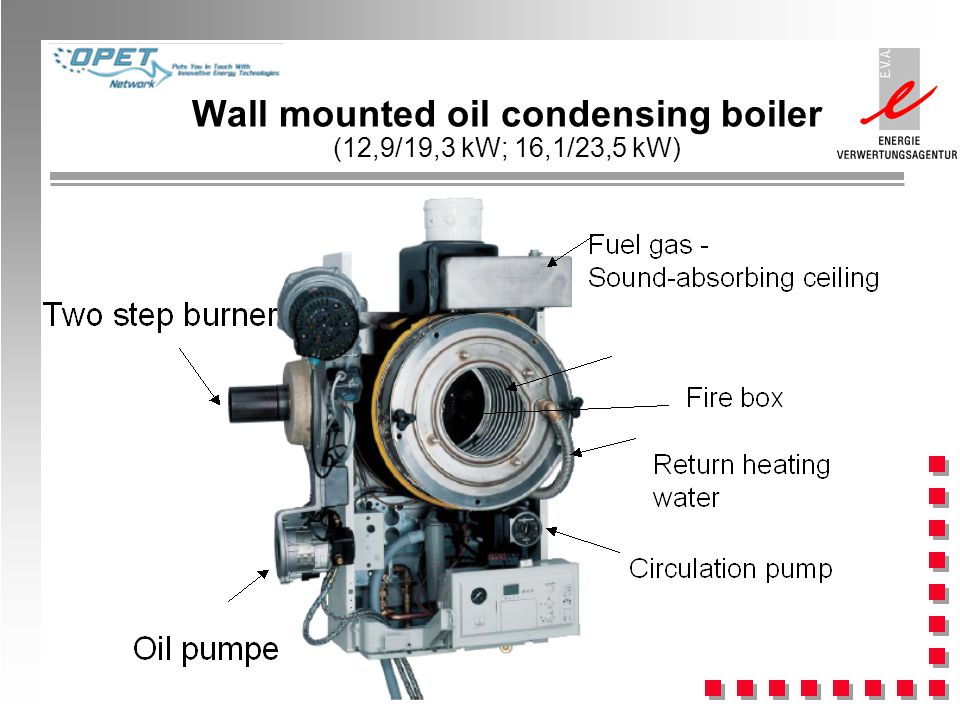 Wall mounted oil condensing boiler (12,9/19,3 kW; 16,1/23,5 kW)
