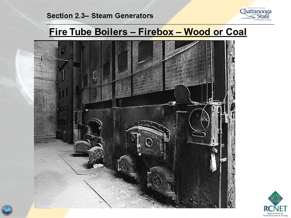 13 Section 2.3– Steam Generators Fire Tube Boilers – Firebox – Wood or Coal
