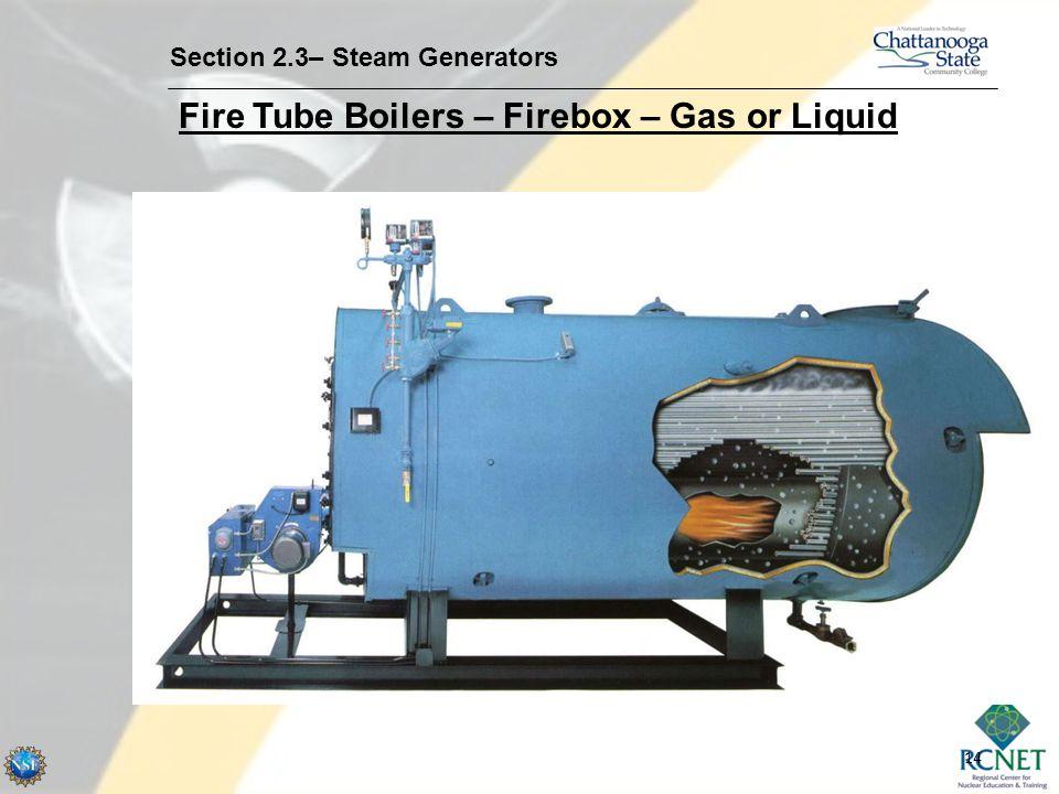 14 Section 2.3– Steam Generators Fire Tube Boilers – Firebox – Gas or Liquid