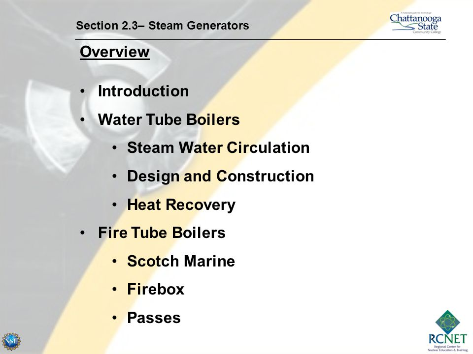 2 Overview Section 2.3– Steam Generators Introduction Water Tube Boilers Steam Water Circulation Design and Construction Heat Recovery Fire Tube Boile