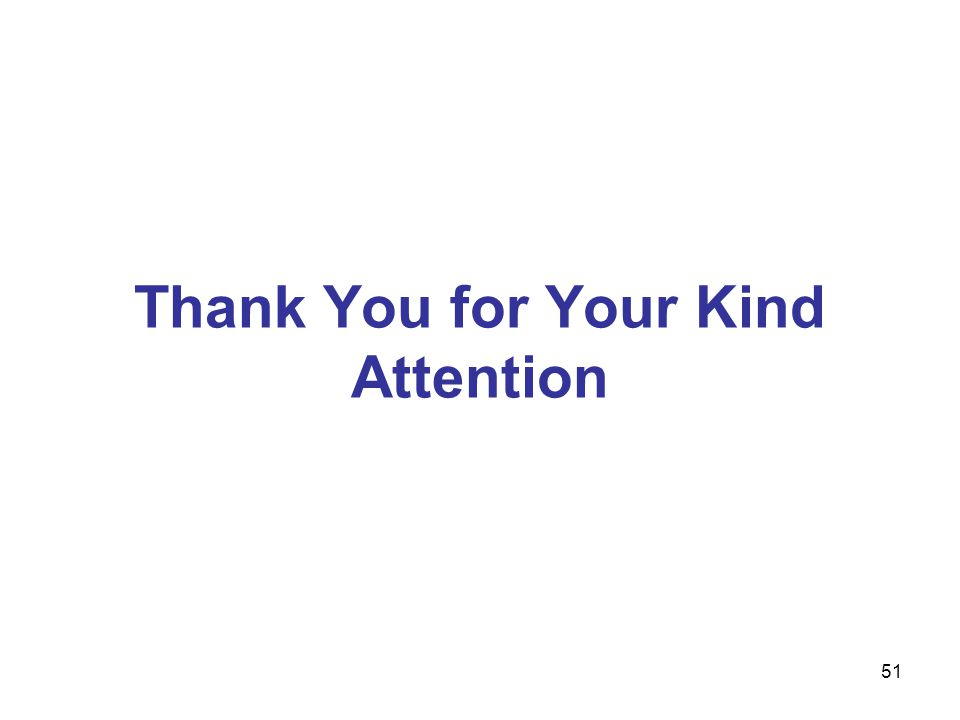 51 Thank You for Your Kind Attention
