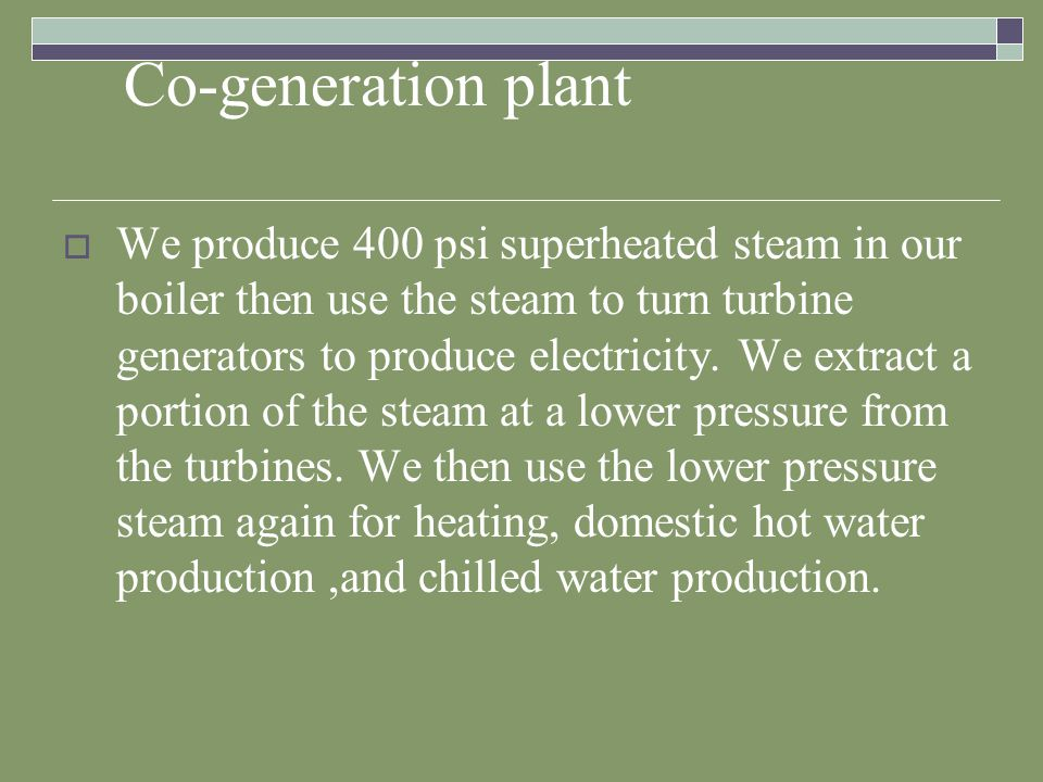 Co-generation plant We are produce about half of the electricity the campus uses on the average day