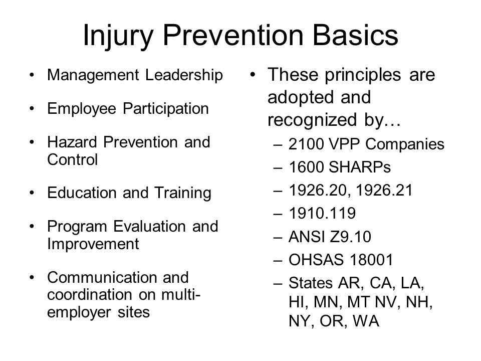Injury Prevention Basics Management Leadership Employee Participation Hazard Prevention and Control Education and Training Program Evaluation and Impr