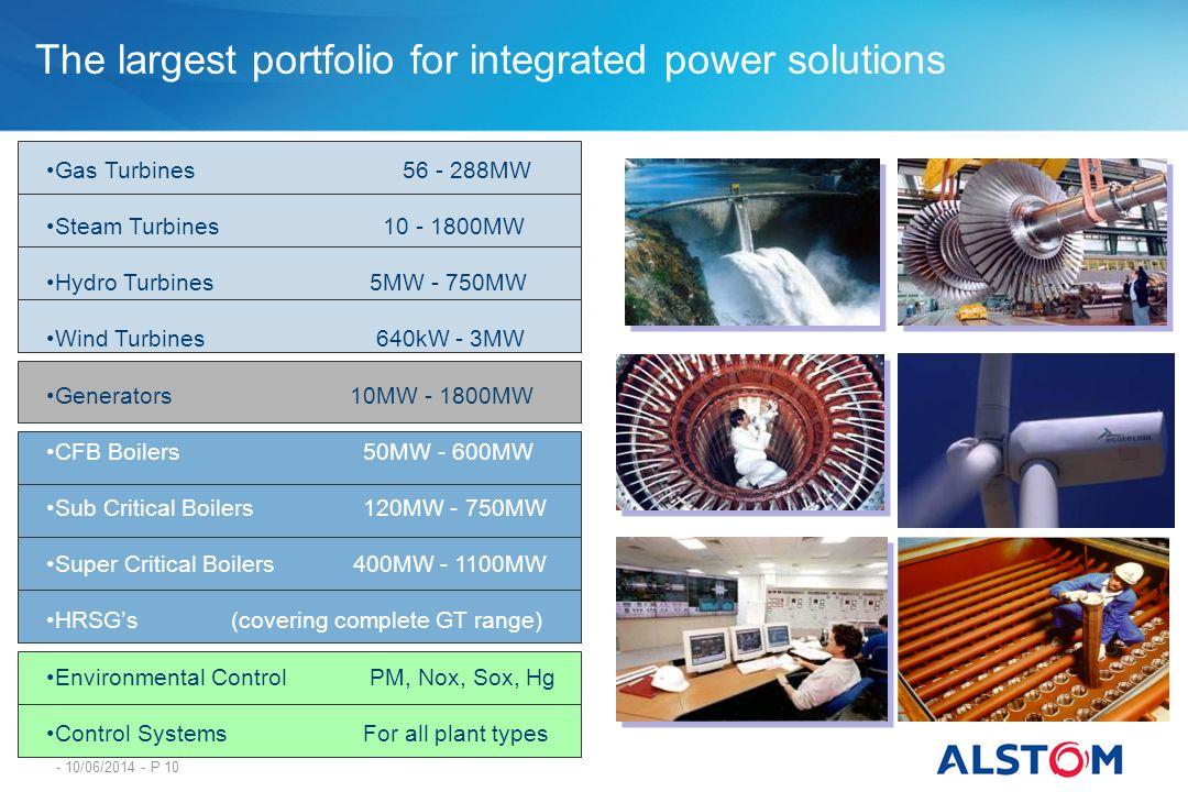 - 10/06/2014 - P 10 Gas Turbines 56 - 288MW Steam Turbines 10 - 1800MW Hydro Turbines 5MW - 750MW Wind Turbines 640kW - 3MW Generators 10MW - 1800MW C