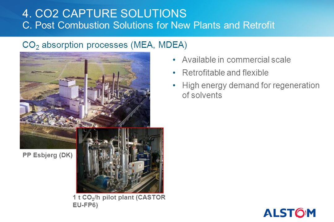 4. CO2 CAPTURE SOLUTIONS C. Post Combustion Solutions for New Plants and Retrofit Available in commercial scale Retrofitable and flexible High energy