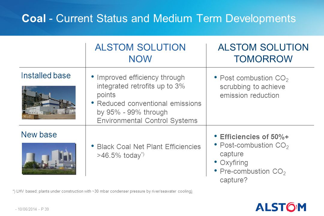 - 10/06/2014 - P 39 Coal - Current Status and Medium Term Developments Installed base New base ALSTOM SOLUTION NOW ALSTOM SOLUTION TOMORROW Improved e