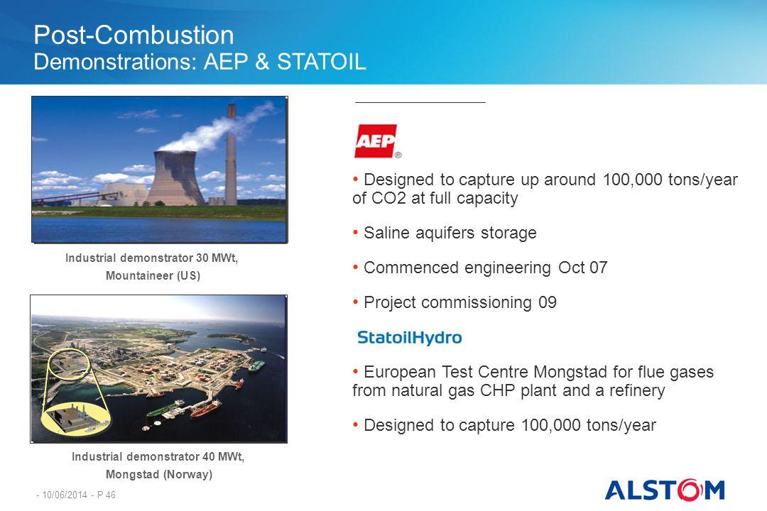 - 10/06/2014 - P 46 Industrial demonstrator 40 MWt, Mongstad (Norway) Industrial demonstrator 30 MWt, Mountaineer (US) Designed to capture up around 1