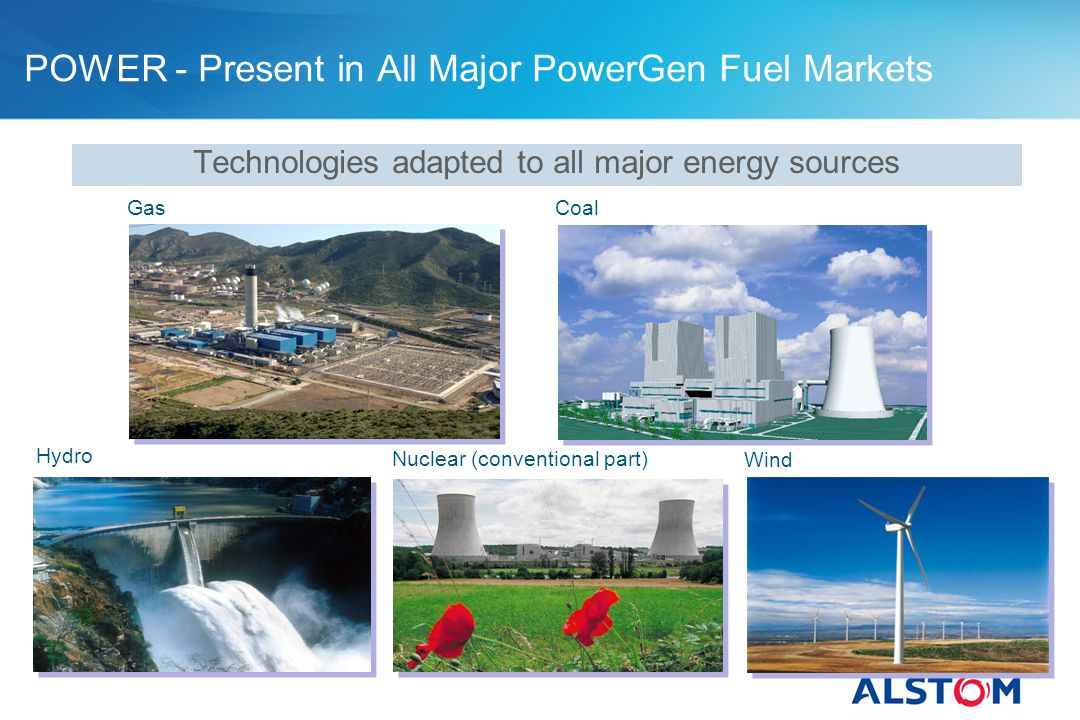 Technologies adapted to all major energy sources POWER - Present in All Major PowerGen Fuel Markets GasCoal Hydro Nuclear (conventional part) Wind