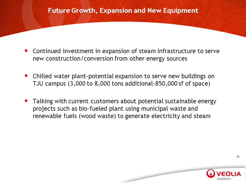 Future Growth, Expansion and New Equipment Continued investment in expansion of steam infrastructure to serve new construction/conversion from other e