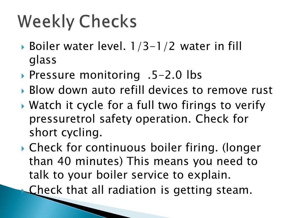 Boiler water level.