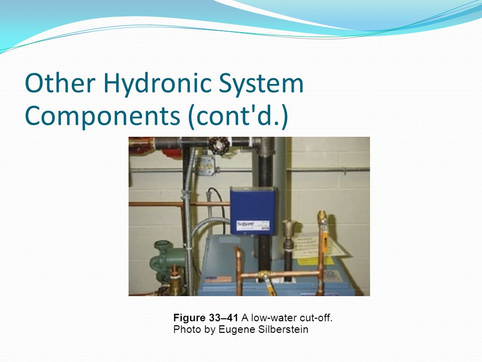 Other Hydronic System Components (cont'd.) Figure 33–41 A low-water cut-off. Photo by Eugene Silberstein n