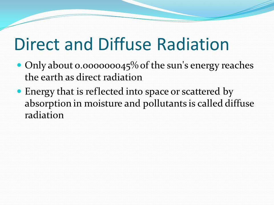 Direct and Diffuse Radiation Only about 0.000000045% of the sun's energy reaches the earth as direct radiation Energy that is reflected into space or