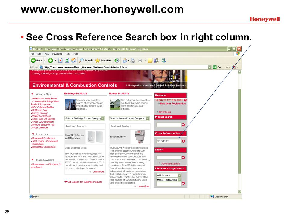 29 www.customer.honeywell.com See Cross Reference Search box in right column.