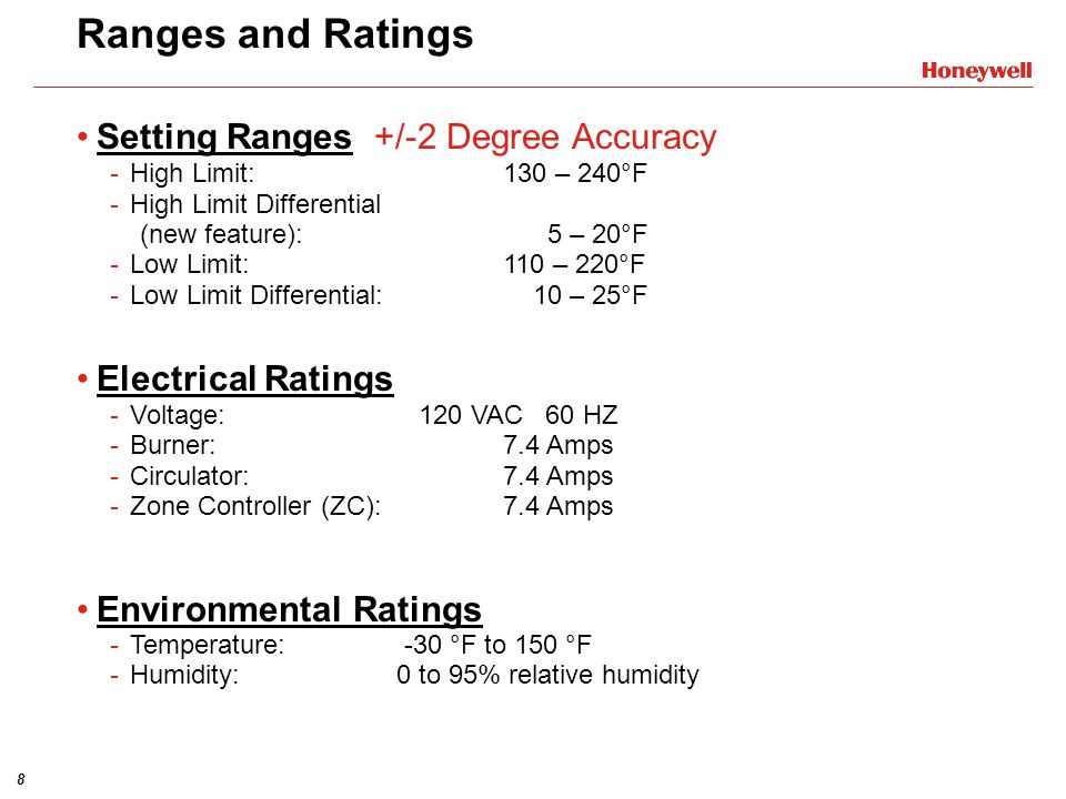 8 Ranges and Ratings Setting Ranges +/-2 Degree Accuracy -High Limit:130 – 240°F -High Limit Differential (new feature): 5 – 20°F -Low Limit:110 – 220