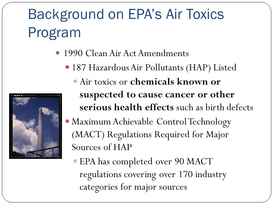 Background on EPAs Air Toxics Program 1990 Clean Air Act Amendments 187 Hazardous Air Pollutants (HAP) Listed Air toxics or chemicals known or suspect