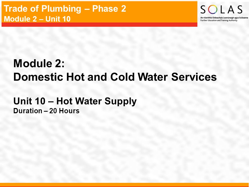 Trade of Plumbing – Phase 2 Module 2 – Unit 10 Convection Currents