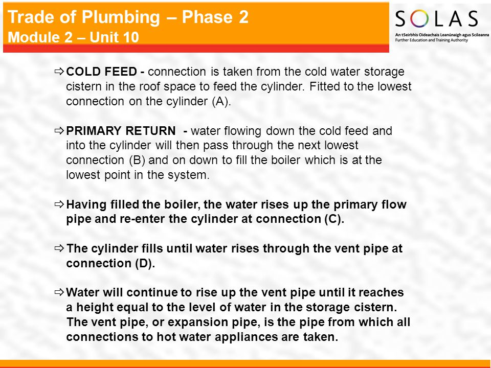 Trade of Plumbing – Phase 2 Module 2 – Unit 10 Feed and Expansion Cistern