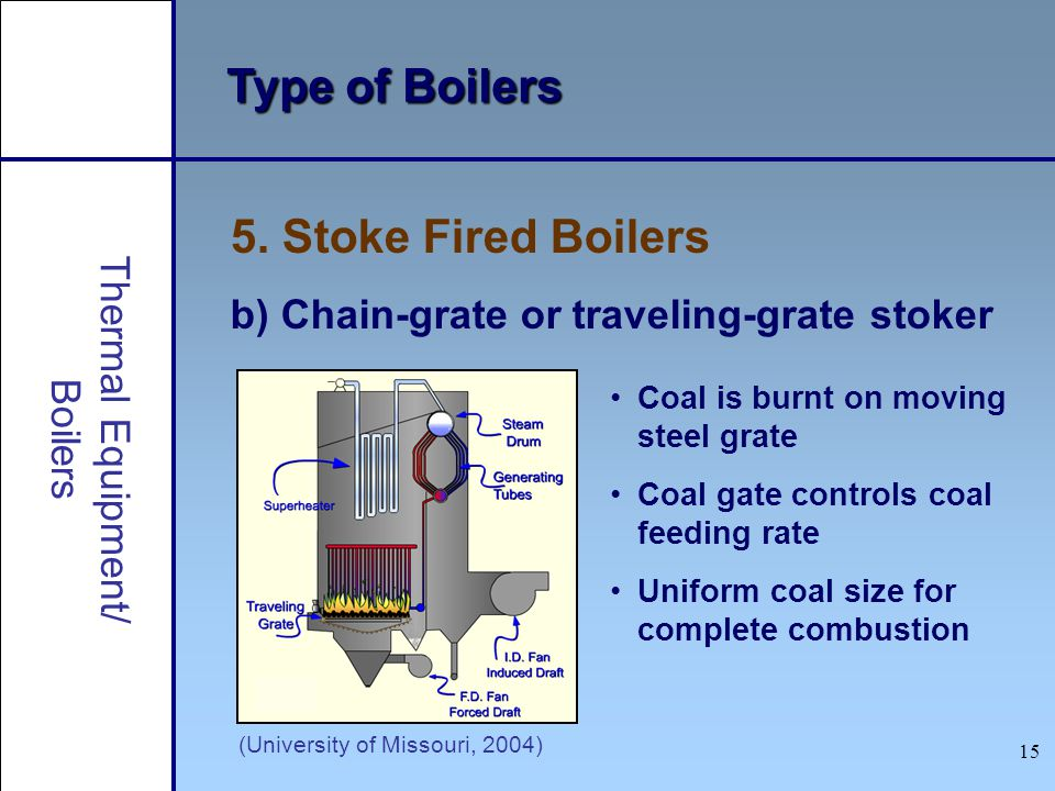 15 Type of Boilers 5. Stoke Fired Boilers b) Chain-grate or traveling-grate stoker (University of Missouri, 2004) Coal is burnt on moving steel grate
