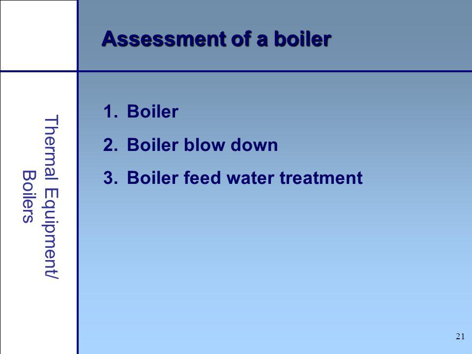 21 1.Boiler 2.Boiler blow down 3.Boiler feed water treatment Assessment of a boiler Thermal Equipment/ Boilers