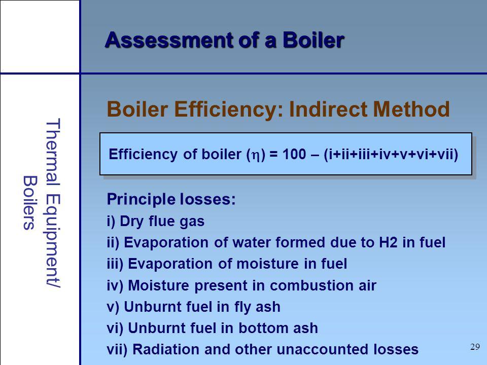 29 Assessment of a Boiler Efficiency of boiler ( ) = 100 – (i+ii+iii+iv+v+vi+vii) Boiler Efficiency: Indirect Method Principle losses: i) Dry flue gas
