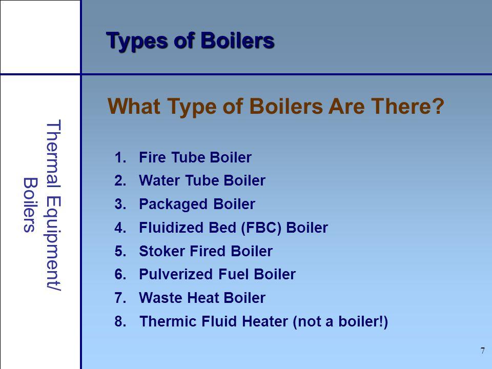 7 Types of Boilers 1.Fire Tube Boiler 2.Water Tube Boiler 3.Packaged Boiler 4.Fluidized Bed (FBC) Boiler 5.Stoker Fired Boiler 6.Pulverized Fuel Boile