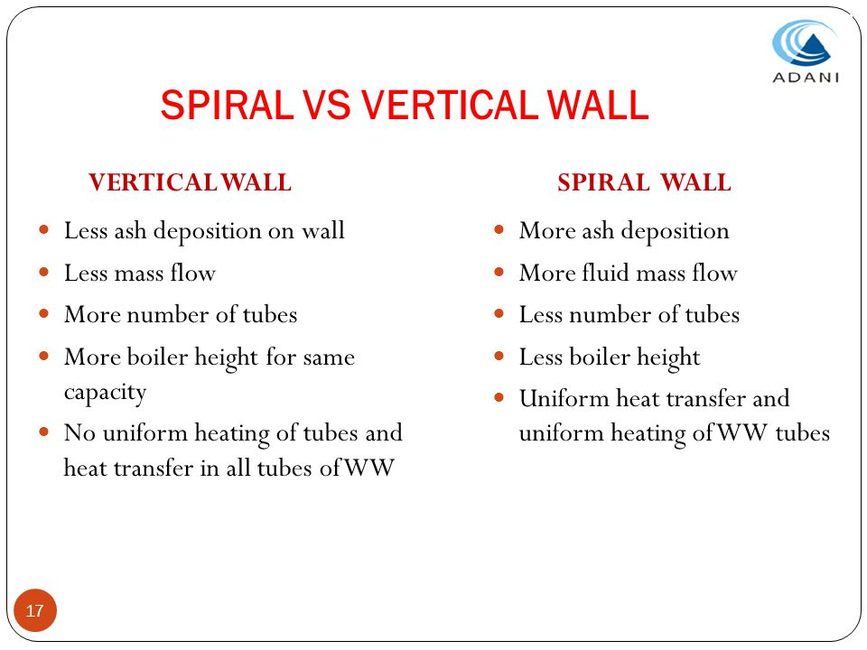 17 SPIRAL VS VERTICAL WALL VERTICAL WALL Less ash deposition on wall Less mass flow More number of tubes More boiler height for same capacity No unifo