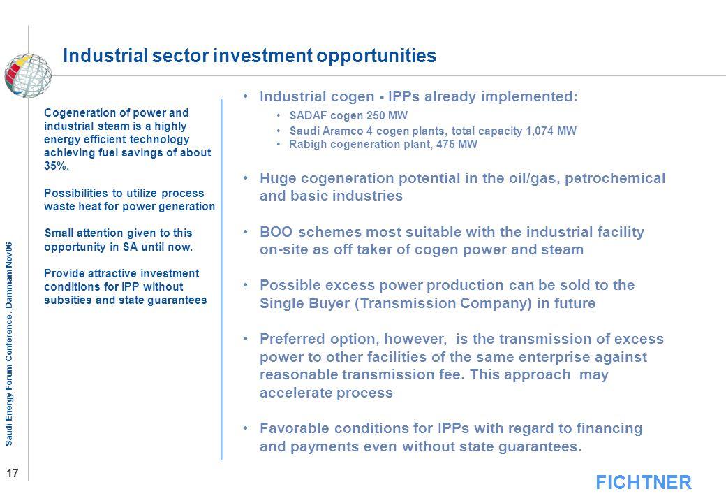 FICHTNER Saudi Energy Forum Conference, Dammam Nov06 17 Industrial sector investment opportunities Industrial cogen - IPPs already implemented: SADAF