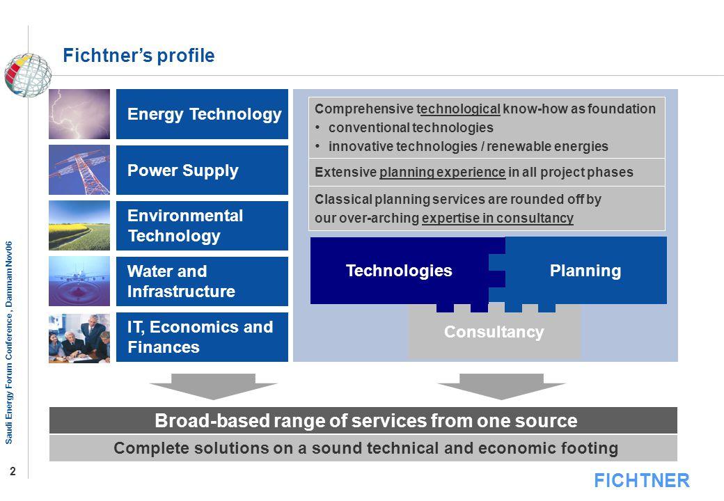 FICHTNER Saudi Energy Forum Conference, Dammam Nov06 2 Consultancy Comprehensive technological know-how as foundation conventional technologies innova