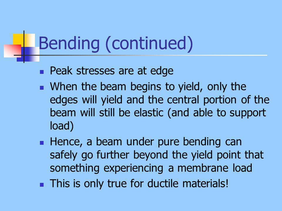 Bending (continued) Peak stresses are at edge When the beam begins to yield, only the edges will yield and the central portion of the beam will still