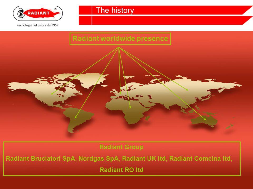 Radiant worldwide presence Radiant Group Radiant Bruciatori SpA, Nordgas SpA, Radiant UK ltd, Radiant Comcina ltd, Radiant RO ltd