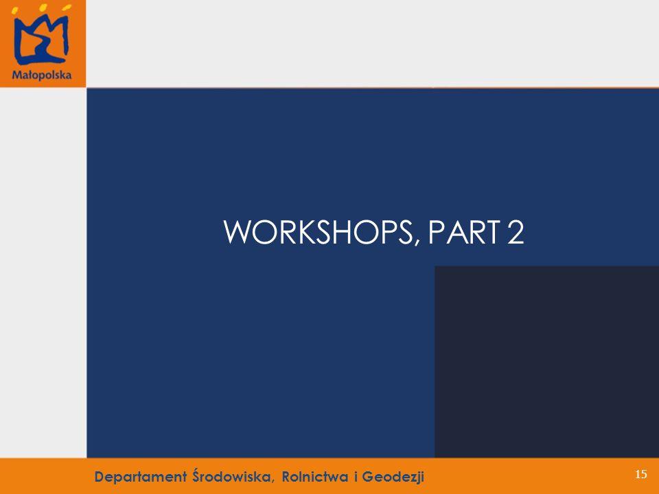 15 WORKSHOPS, PART 2 Departament Środowiska, Rolnictwa i Geodezji