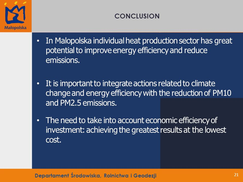 In Malopolska individual heat production sector has great potential to improve energy efficiency and reduce emissions.