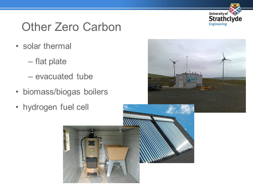 Other Zero Carbon solar thermal –flat plate –evacuated tube biomass/biogas boilers hydrogen fuel cell