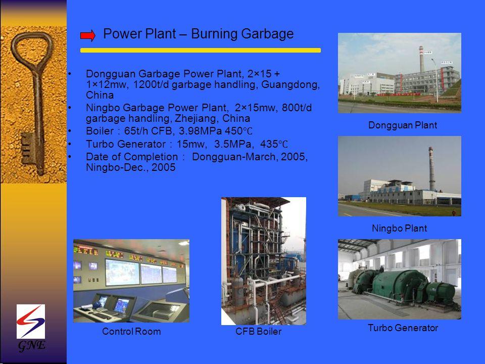 Power Plant – Burning Garbage Dongguan Garbage Power Plant, 2×15 1×12mw, 1200t/d garbage handling, Guangdong, China Ningbo Garbage Power Plant, 2×15mw
