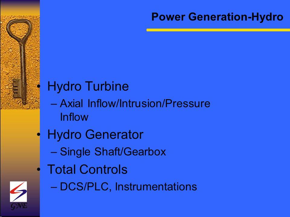 Hydro Turbine –Axial Inflow/Intrusion/Pressure Inflow Hydro Generator –Single Shaft/Gearbox Total Controls –DCS/PLC, Instrumentations Power Generation