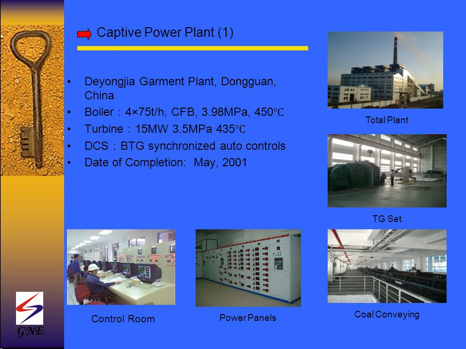 Captive Power Plant (1) Deyongjia Garment Plant, Dongguan, China Boiler 4×75t/h, CFB, 3.98MPa, 450 Turbine 15MW 3.5MPa 435 DCS BTG synchronized auto c