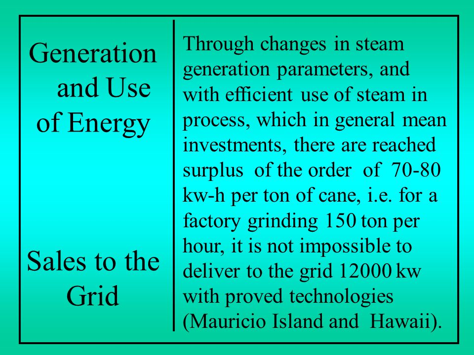 Generation and Use of Energy Sales to the Grid Through changes in steam generation parameters, and with efficient use of steam in process, which in ge