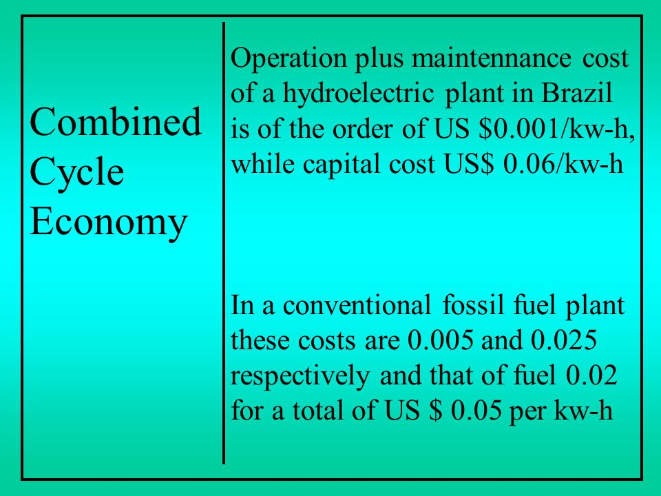Combined Cycle Economy Operation plus maintennance cost of a hydroelectric plant in Brazil is of the order of US $0.001/kw-h, while capital cost US$ 0