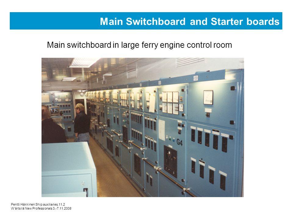Pentti Häkkinen Ship auxiliaries.11.2 Wärtsilä New Professionals 3.-7.11.2008 Main Switchboard and Starter boards Main switchboard in large ferry engi