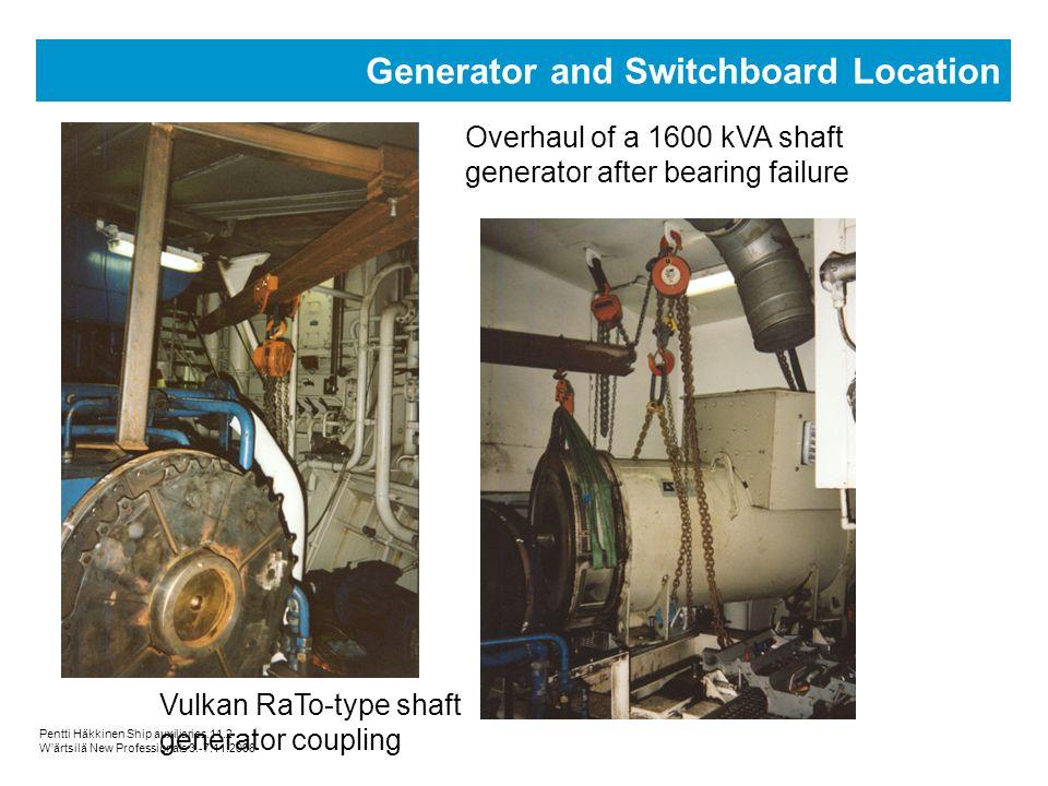 Pentti Häkkinen Ship auxiliaries.11.2 Wärtsilä New Professionals 3.-7.11.2008 Generator and Switchboard Location Overhaul of a 1600 kVA shaft generato